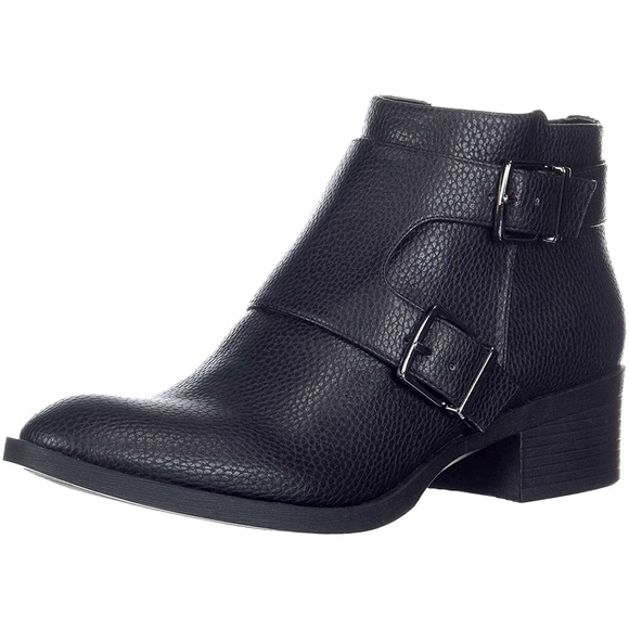 Kenneth Cole Reaction Black Ankle Buckle Boots 9.5